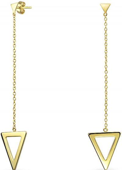Gold Minimalist Geometric Linear Stud Earrings