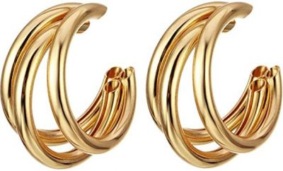 Gold Multi-Layer Hoop Earrings-Aineecy