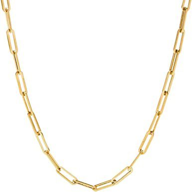 Gold Paperclip Link Chain Necklace-Stonemint
