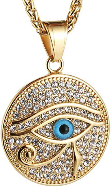 Gold Plated Iced Out Eye of Horus Necklace-HZMAN