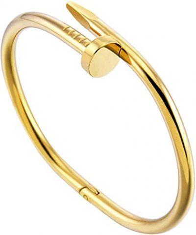 Gold Titanium Steel Nail Bracelet-Ivan Johns Bracelets