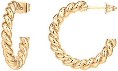 Gold Twisted Rope Hoop Earrings