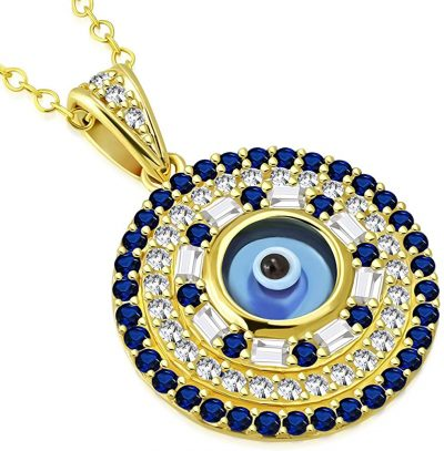 Gold White Blue Evil Eye Protection Pendant Necklace