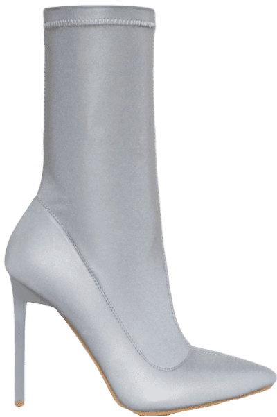 Grey Lucinda Reflective Stiletto Ankle Boots