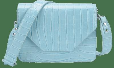 Light Blue Croco Print Shoulder Bag