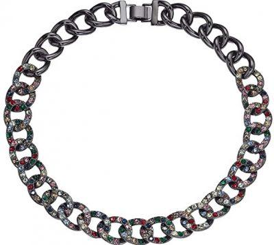 Multicolor Glitz Pave Chain Necklace