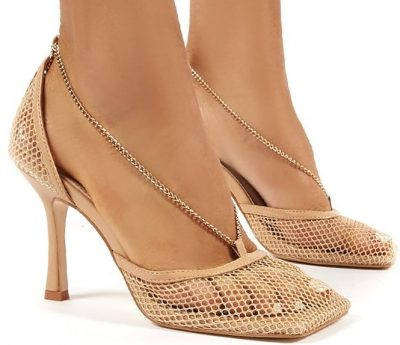 Nude Anabela Fishnet Chain Stiletto High Heels