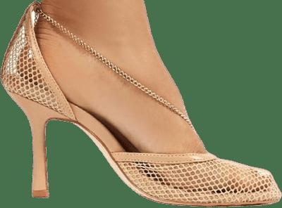 Nude Anabela Fishnet Stiletto High Heels