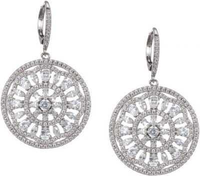 Pave Medallion Lever Back Earrings-Nina Jewelry