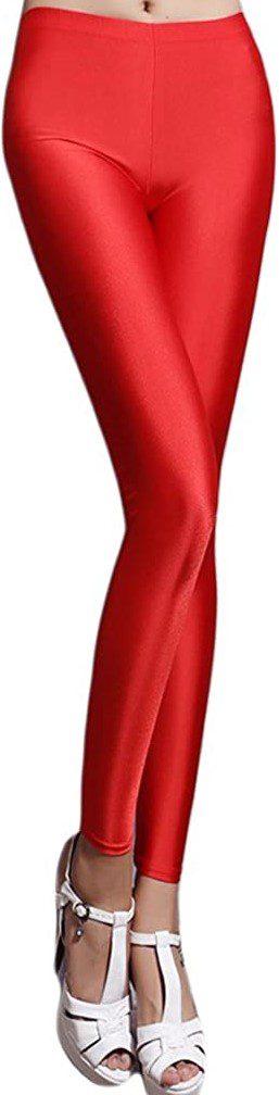 Red Fluorescent Leggings-Romastory