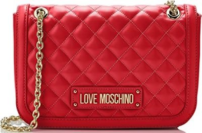 Red Quilted Nappa Pu Shoulder Bag-Love Moschino