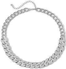 Silver Rhinestone Cuban Link Chain Choker Necklace-Ingemark
