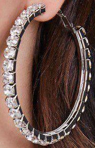 Silver Rhinestone Hoop Earrings-Forever 21