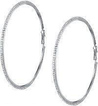 Silver Rhinestones Hoop Earrings