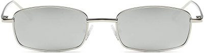 Silver Square Metal Frame Sunglasses-FEISEDY