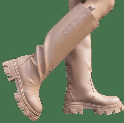 Tan Knee High Chunky Sole Boots