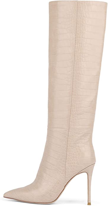 Taupe Croco Stiletto Knee High Boots