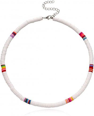 White Boho Beads Choker