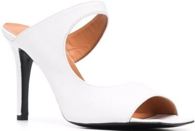 White Cut-Out Leather Mule Sandals-Via Roma 15