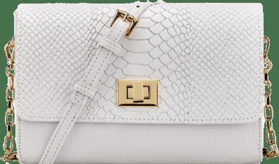 White Embossed Python Catherine Crossbody Bag