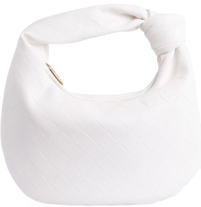White Faux Leather Slouchy Shoulder Bag