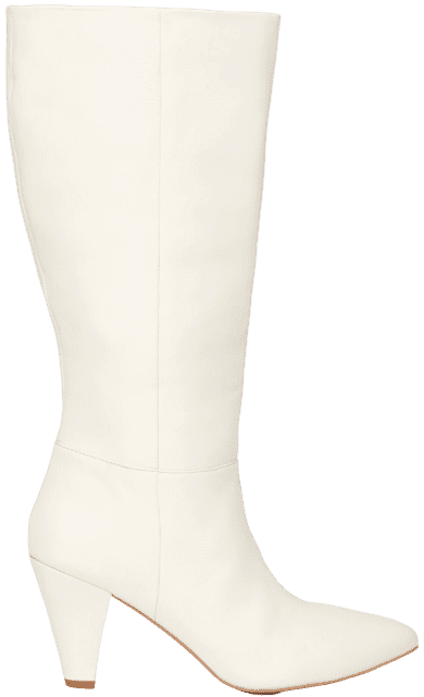 White Leather Calf Boots-Warehouse