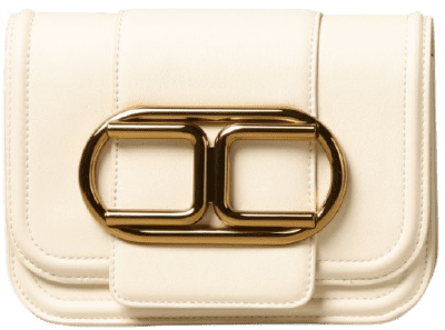 White Metallic Logo Crossbody Bag-Elisabetta Franchi