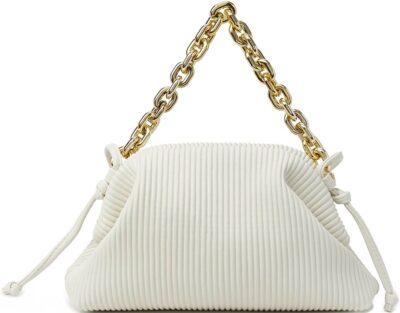 White Ruched Shoulder Bag-KingTo