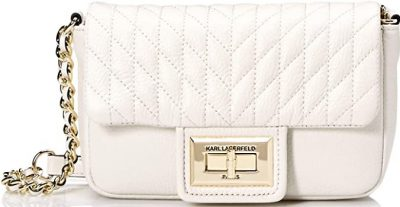 White Agyness Quilted Flap Crossbody-Karl Lagerfeld