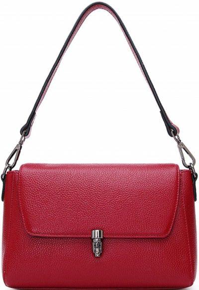 Wine Red Leather Cowhide Shoulder Bag