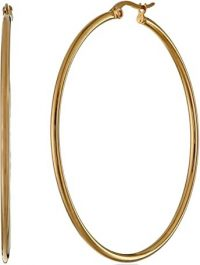 Yellow Gold Plated Stainless Steel Hoop Earrings-Amazon Essentials