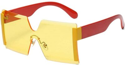 Yellow Oversized Square Rimless Sunglasses-N+A