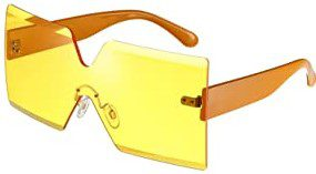 Yellow Oversized Square Sunglasses-Weewooday