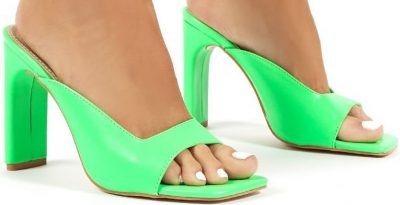 Abelle Green Square Toe High Heeled Mules-Public Desire