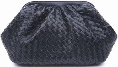 Black Large Woven Faux-Leather Cloud Bag -Baltic Guild