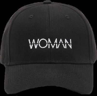 Black 'Woman' Slogan Embroidered Cap