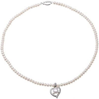 Freshwater Pearls with Heart Pendant Necklace-JYX Pearl