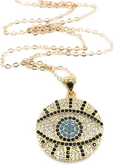 Gold Evil Eye Necklace-Leslie Boules