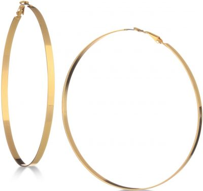 Gold Flat-edge Hoop Earrings-Guess