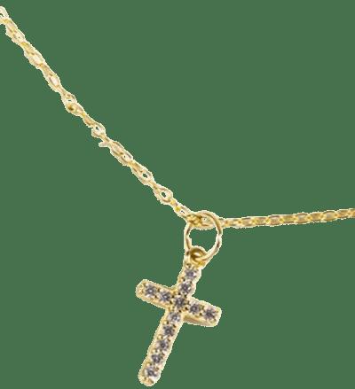Gold Maya CZ Cross Pendant Necklace-Francesca's