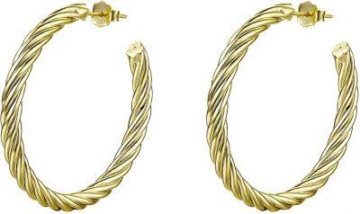 Gold Round Open Hoop Earrings-LYTOPTOP