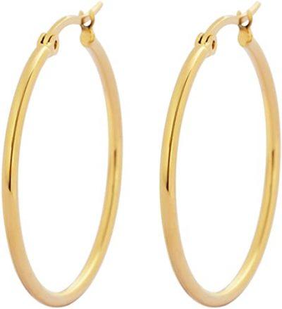 Gold Rounded Hoops Earrings-Edforce