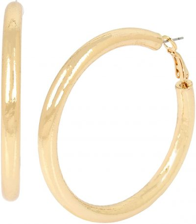 Gold Stardust Large Hoop Earrings
