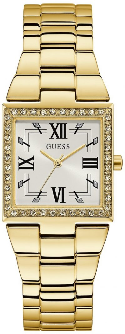 Gold-Tone Square Crystal Steel Watch-Guess