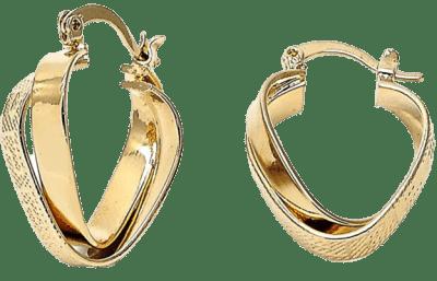 Gold Triangle Twist and Greek Key Small Hoop Earrings