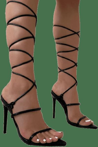 Issey Black Faux Lizard Print Lace Up Stiletto Heels-Simmi