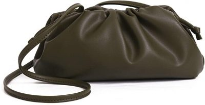 Olive Green Cloud Shape Gathered Clutch-Get The Looks