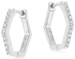 Pave Silver Hex Huggies Earrings-Missoma