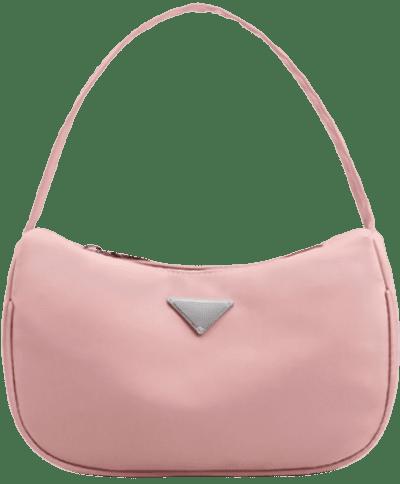 Pink Nylon Zip Half-Moon Mini Tote Bag
