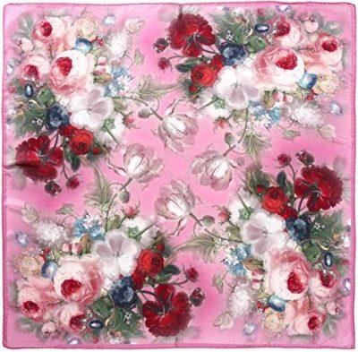 Pink Square Silk Scarf-Aqueena